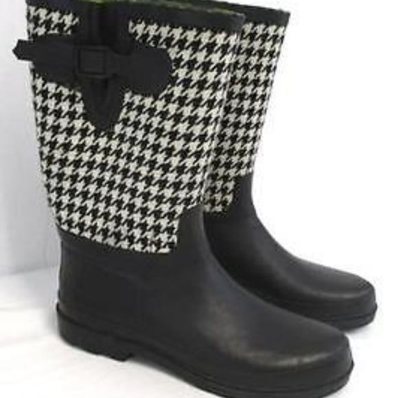 Houndstooth Rain Boots